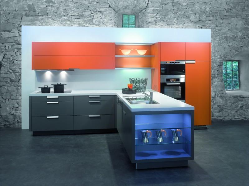Фото кухни красно синяя